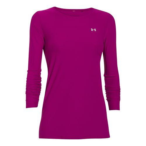 Womens Under Armour Sunblock 30 Long Sleeve No Zip Technical Tops - Aubergine S