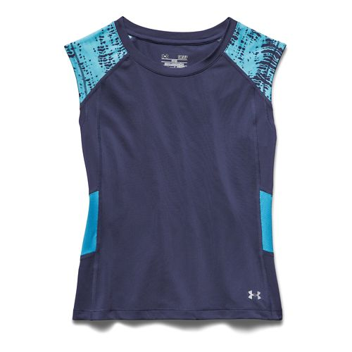 Womens Under Armour HeatGear Alpha Muscle Crop Tee Sleeveless Technical Tops - Faded Ink/Blue L ...
