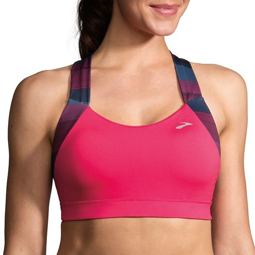 Womens Brooks UpLift Crossback Sports Bra - Dahlia/Market Haze XS