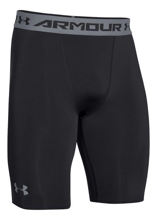 Mens Under Armour HeatGear Compression Short Long Boxer Brief Underwear Bottoms - Black/Steel S