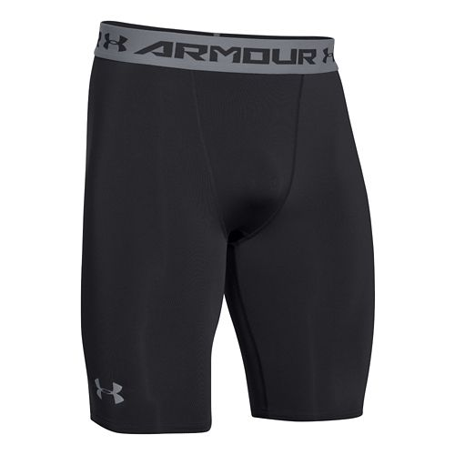 Mens Under Armour HeatGear Compression Short Long Boxer Brief Underwear Bottoms - Black/Steel L