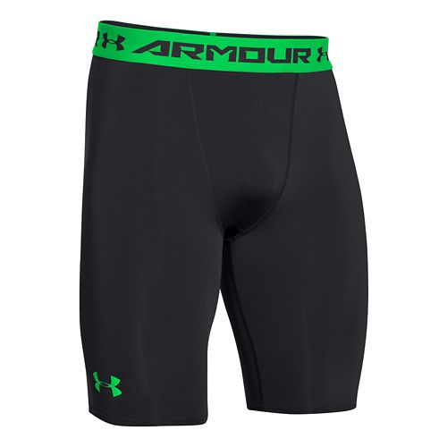 Mens Under Armour HeatGear Compression Short Long Boxer Brief Underwear Bottoms - Black/Green ...