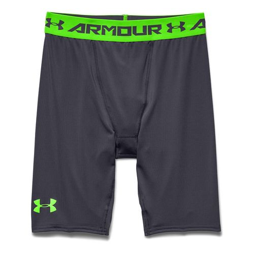 Mens Under Armour HeatGear Compression Short Long Boxer Brief Underwear Bottoms - Grey/Hyper ...