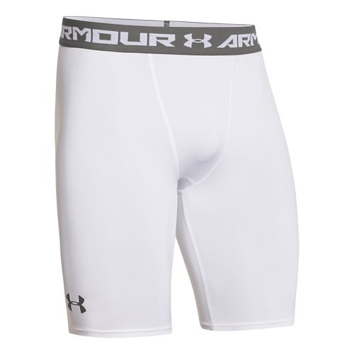 Mens Under Armour HeatGear Compression Short Long Boxer Brief Underwear Bottoms - White/Graphite S