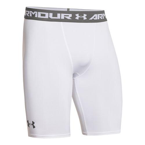 Mens Under Armour HeatGear Compression Short Long Boxer Brief Underwear Bottoms - White/Graphite XL