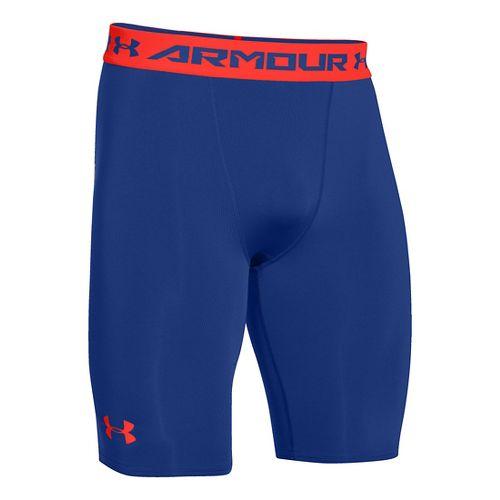 Mens Under Armour HeatGear Compression Short Long Boxer Brief Underwear Bottoms - Cobalt/Orange S