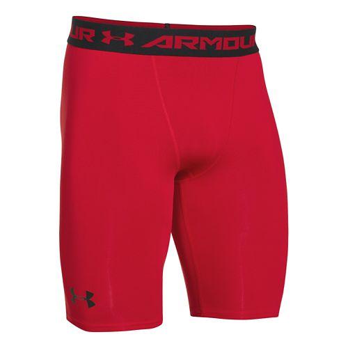Mens Under Armour HeatGear Compression Short Long Boxer Brief Underwear Bottoms - Red/Black L