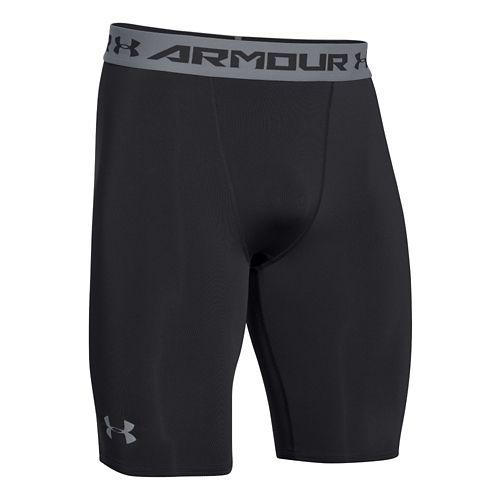 Mens Under Armour HeatGear Compression Short Long Boxer Brief Underwear Bottoms - Black/Island ...