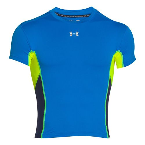 Mens Under Armour HeatGear Stretch Compression T Short Sleeve Technical Tops - Blue ...