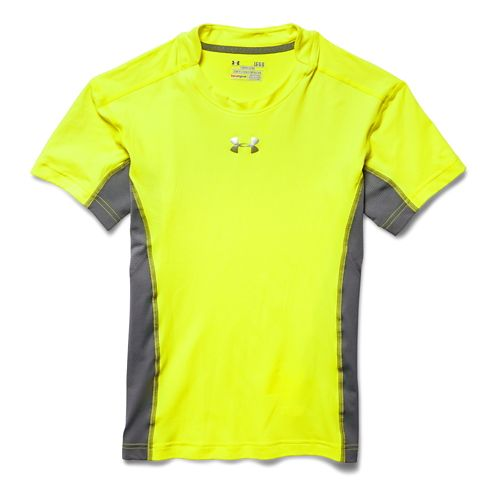 Mens Under Armour HeatGear Stretch Compression T Short Sleeve Technical Tops - High-Vis Yellow XL
