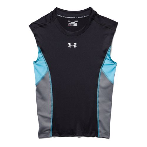 Mens Under Armour HeatGear Stretch Compression T Sleeveless Technical Tops - Black/Island Blues 3XL