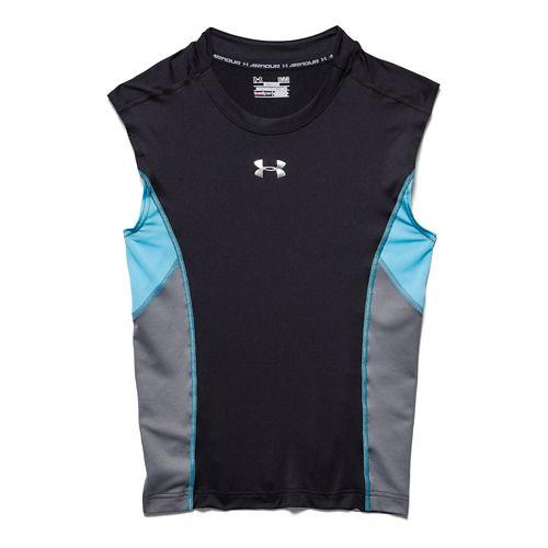 Mens Under Armour HeatGear Stretch Compression T Sleeveless Technical Tops - Black/Island Blues S