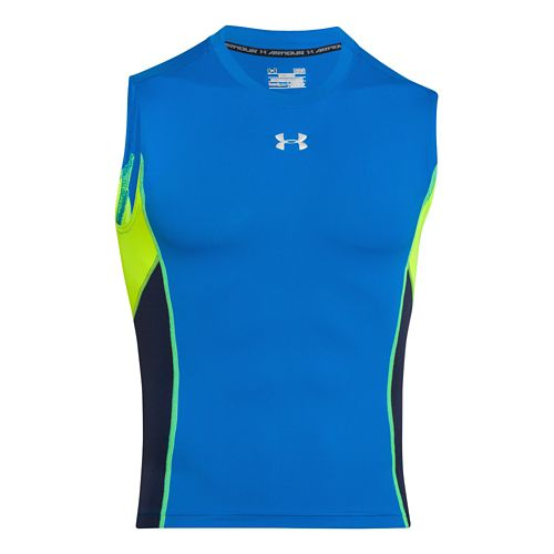 Mens Under Armour HeatGear Stretch Compression T Sleeveless Technical Tops - Blue Jet/Midnight S