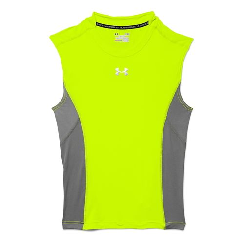 Mens Under Armour HeatGear Stretch Compression T Sleeveless Technical Tops - High-Vis Yellow 3XL