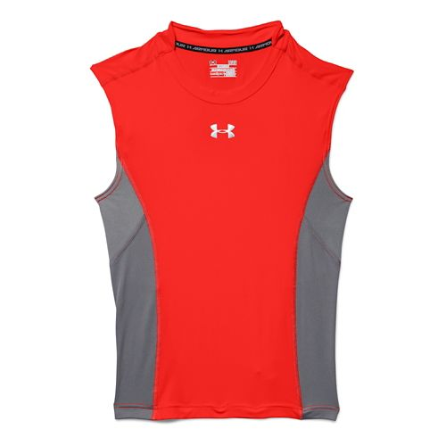Mens Under Armour HeatGear Stretch Compression T Sleeveless Technical Tops - Bolt Orange/Graphite M