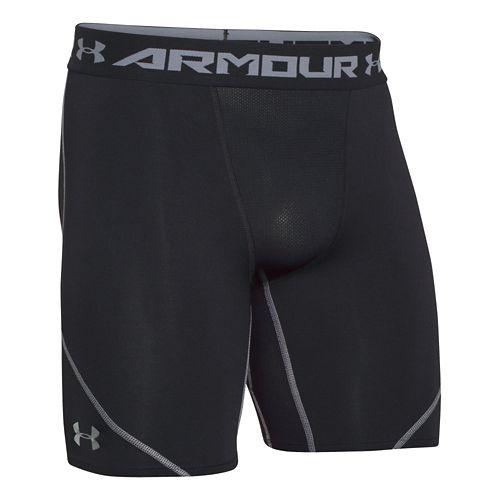 Mens Under Armour HeatGear Stretch Compression Short Boxer Brief Underwear Bottoms - Blue Jet ...