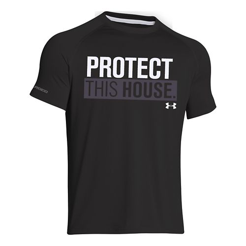 Mens Under Armour Charged Cotton Sportstyle 1 T Short Sleeve Technical Tops - Black/Lead 3XL ...