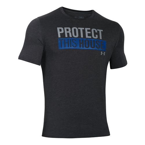 Mens Under Armour Charged Cotton Sportstyle 1 T Short Sleeve Technical Tops - Black/Royal L ...