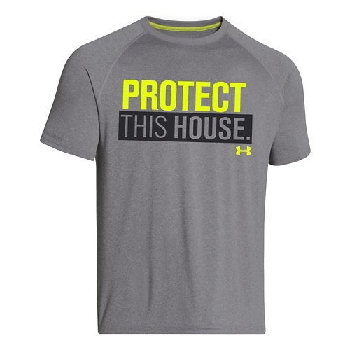 Mens Under Armour Charged Cotton Sportstyle 1 T Short Sleeve Technical Tops - True Gray ...