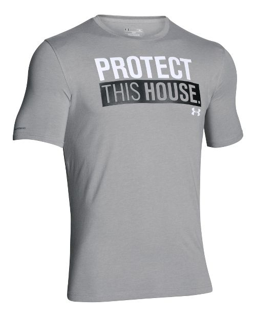 Mens Under Armour Charged Cotton Sportstyle 1 T Short Sleeve Technical Tops - True Grey Heather XL