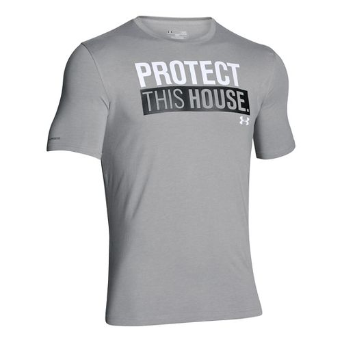 Mens Under Armour Charged Cotton Sportstyle 1 T Short Sleeve Technical Tops - True Grey ...