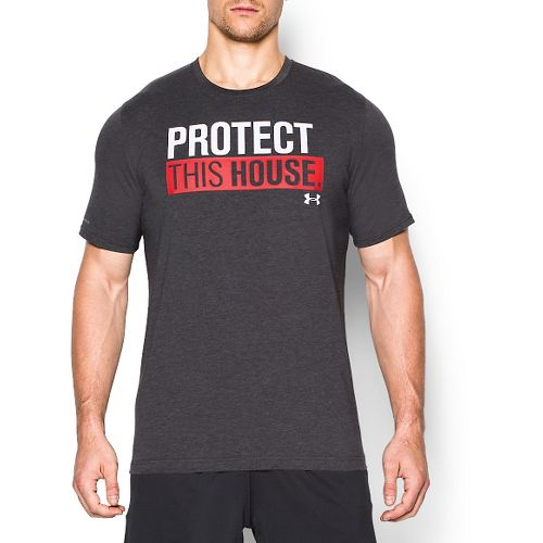 Mens Under Armour Charged Cotton Sportstyle 1 T Short Sleeve Technical Tops - Carbon Heather ...