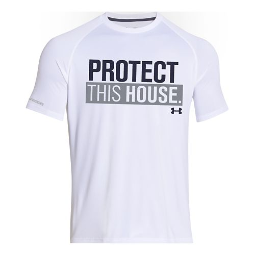 Mens Under Armour Charged Cotton Sportstyle 1 T Short Sleeve Technical Tops - White/Midnight ...