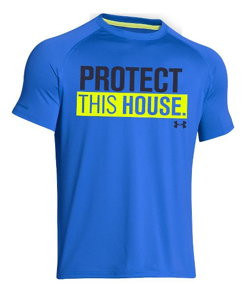 Mens Under Armour Charged Cotton Sportstyle 1 T Short Sleeve Technical Tops - Blue Jet/Midnight XXL