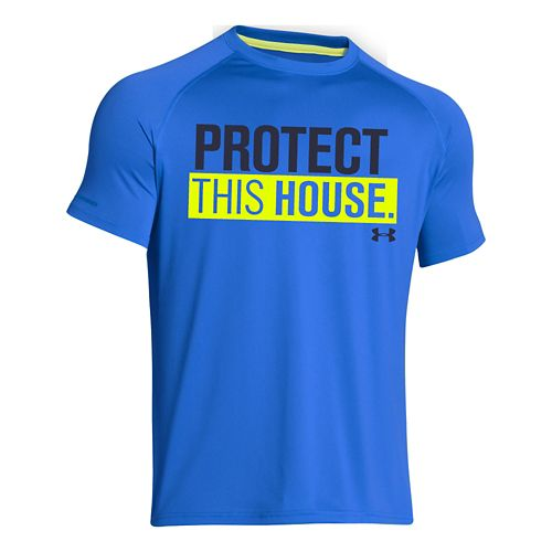 Mens Under Armour Charged Cotton Sportstyle 1 T Short Sleeve Technical Tops - Blue Jet/Midnight ...