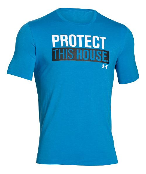 Mens Under Armour Charged Cotton Sportstyle 1 T Short Sleeve Technical Tops - Electric Blue XL