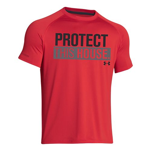 Mens Under Armour Charged Cotton Sportstyle 1 T Short Sleeve Technical Tops - Red/Black S ...