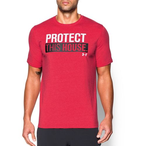 Mens Under Armour Charged Cotton Sportstyle 1 T Short Sleeve Technical Tops - Red/Black L ...