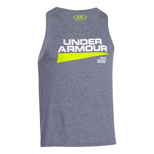 Mens Under Armour Triblend Graphic Tank Short Sleeve Technical Tops - Midnight Navy L