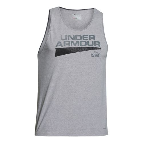 Mens Under Armour Triblend Graphic Tank Short Sleeve Technical Tops - Royal/Bolt Orange L