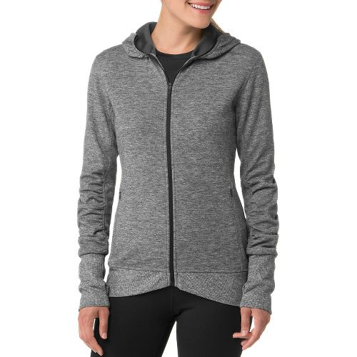 Womens Brooks Joyride Hoodie Running Jackets - Heather/Black L
