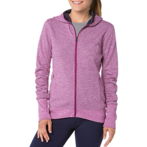 Womens Brooks Joyride Hoodie Running Jackets - Heather/Currant M