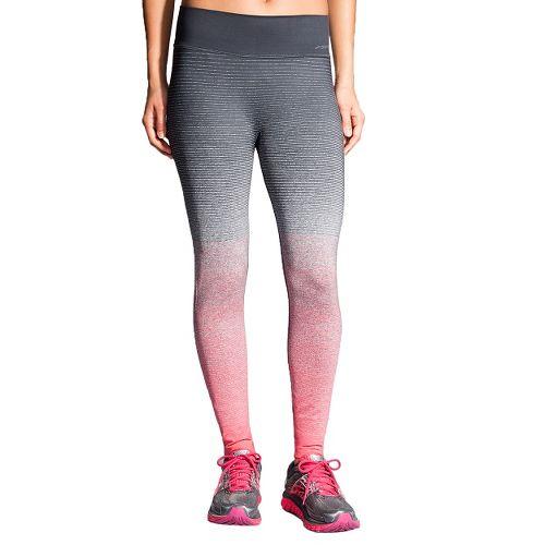 Womens Brooks Streaker Tights & Leggings Pants - Poppy/Asphalt M