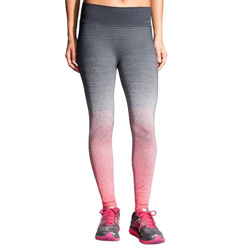 Womens Brooks Streaker Tights & Leggings Pants - Poppy/Asphalt S