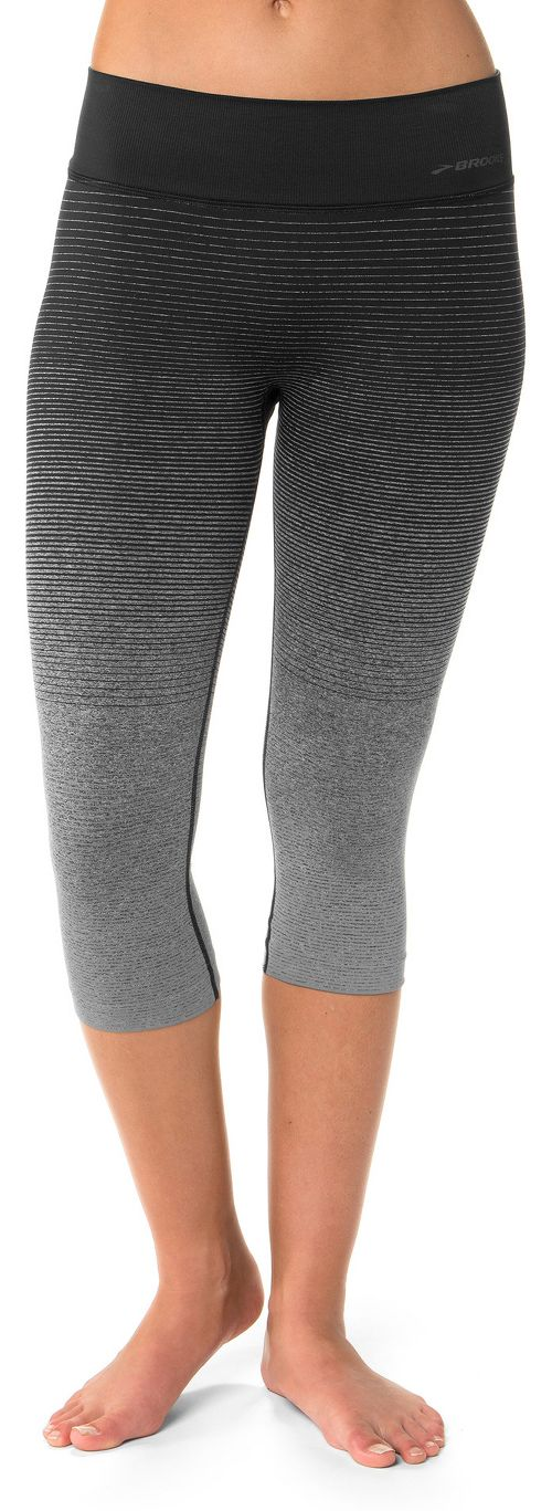 Womens Brooks Streaker Capri Tights - Oxford/Black L