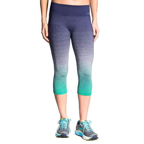 Womens Brooks Streaker Capri Tights - Parque/Navy M