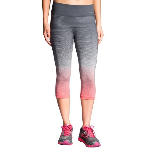 Womens Brooks Streaker Capri Tights - Poppy/Asphalt L