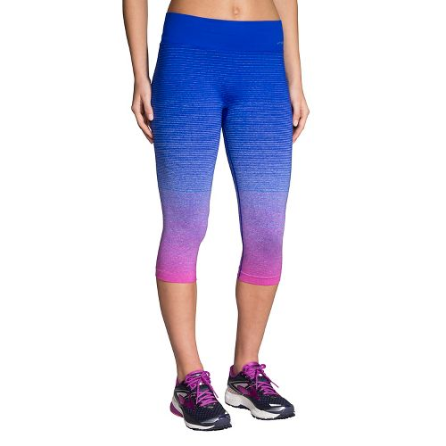 Womens Brooks Streaker Capri Tights - Petal/Cobalt M
