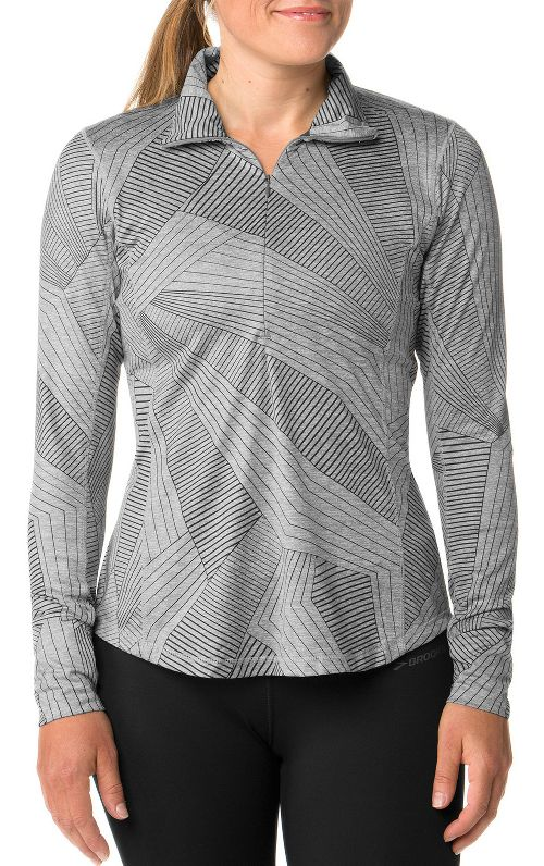 Womens Brooks Dash Half-Zips & Hoodies Technical Tops - Heather Oxford XS