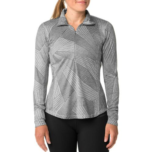 Womens Brooks Dash Long Sleeve Half Zip Technical Tops - Heather/Oxford M