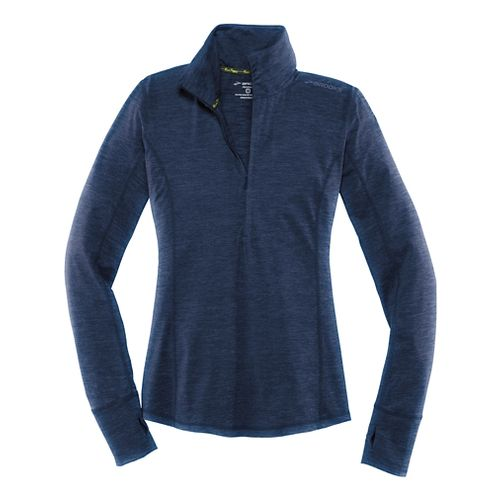 Womens Brooks Dash Long Sleeve Half Zip Technical Tops - Heather Navy L