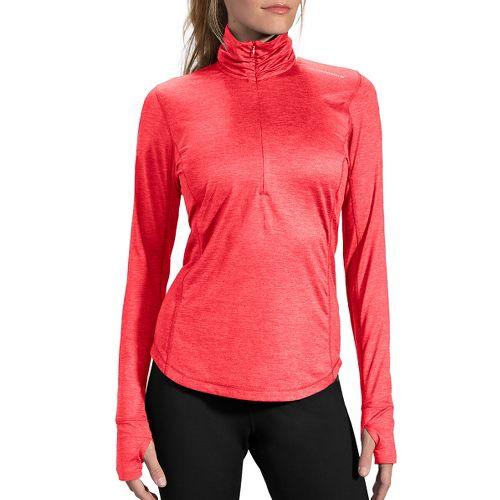 Womens Brooks Dash Long Sleeve Half Zip Technical Tops - Poppy XS