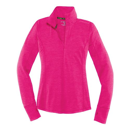 Womens Brooks Dash Long Sleeve Half Zip Technical Tops - Heather Bloom L