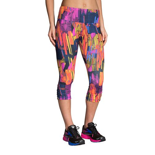 Womens Brooks Greenlight Capri Tights - Sunset Maze S