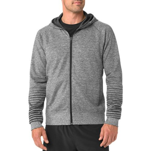 Mens Brooks Joyride Hoodie Warm-Up Unhooded Jackets - Heather Black L