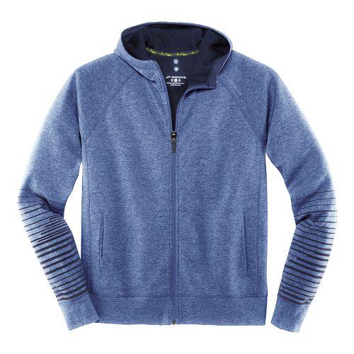 Mens Brooks Joyride Hoodie Warm-Up Unhooded Jackets - Heather/Marathon L